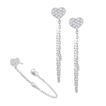 14K Pave Heart Chain Earrings