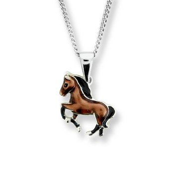 Brown Horse Necklace.Sterling Silver