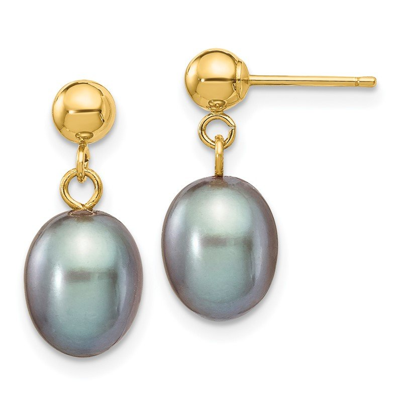 Quality Gold 14k 7-8mm Grey Rice Freshwater Cultured Pearl Dangle Post Earrings