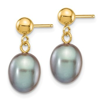 14k 7-8mm Grey Rice Freshwater Cultured Pearl Dangle Post Earrings