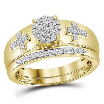 10kt Yellow Gold Womens Diamond Cluster Cross Bridal Wedding Engagement Ring Band Set 1/4 Cttw