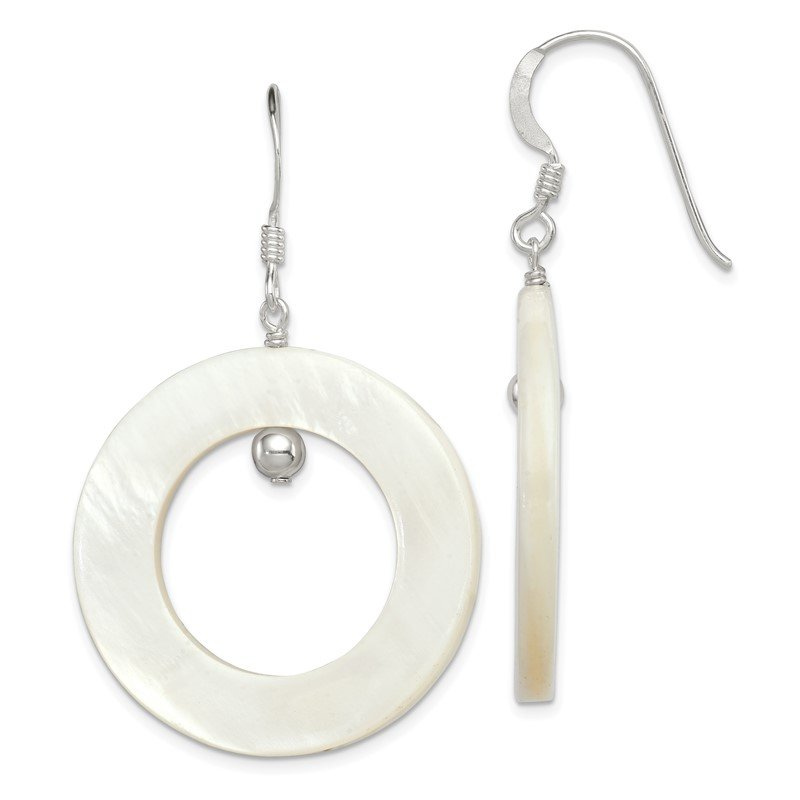Quality Gold Sterling Silver White Mother of Pearl Earrings