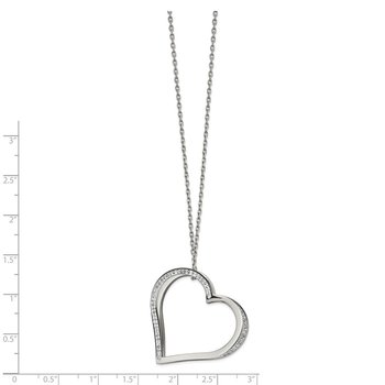 Stainless Steel Polished w/Preciosa Crystal Heart 18in w/2in ext Necklace