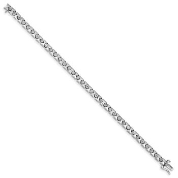 Sterling Silver Rhodium Plated Diamond Bracelet