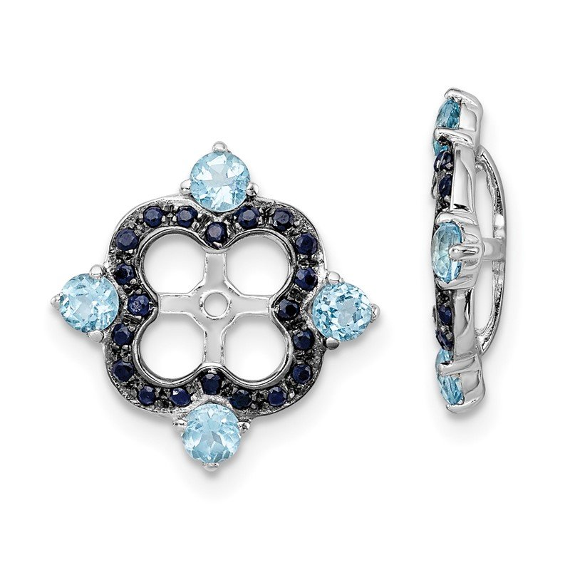 Quality Gold Sterling Silver Rhodium Swiss Blue Topaz & Black Sapphire Earring Jacket