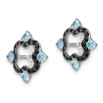 Sterling Silver Rhodium Swiss Blue Topaz & Black Sapphire Earring Jacket