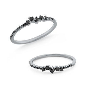 Black Diamond Stackable Ring Set in 14 Kt. Gold