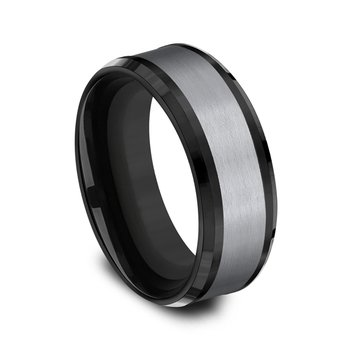 Grey  and Black Titanium two-tone Comfort-fit wedding band
