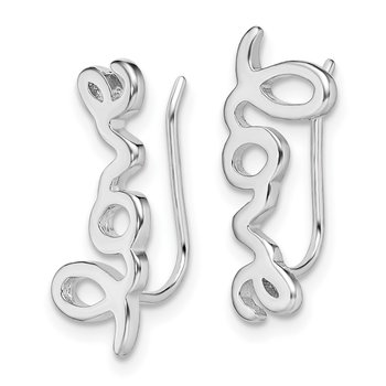 Sterling Silver Rhodium-plated LOVE Ear Climber Earrings