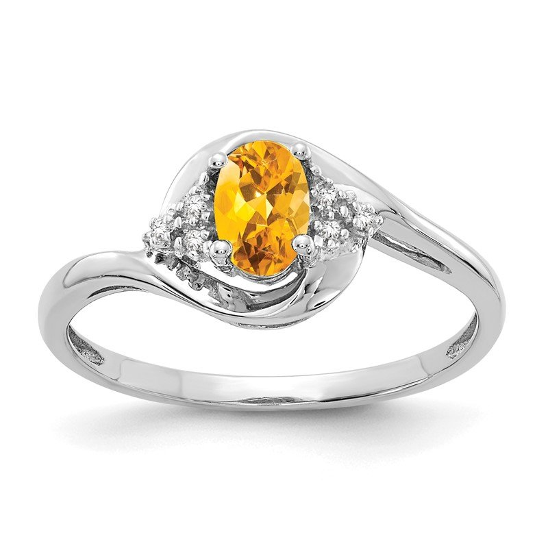 Quality Gold 14k White Gold Citrine and Diamond Ring