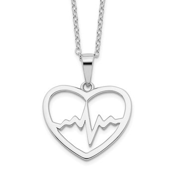 Sterling Silver 16+2in Ext Rhodium-plated Heartbeat in Heart Necklace