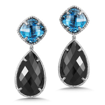 Sterling Silver London Blue Topaz & Black Spinal Drop Earrings