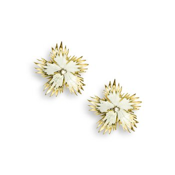 White Rock Flower Stud Earrings.18K -Diamonds