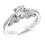 Valina Bridals Mounting with side stones .32 ct. tw., 3/4 ct. round center.