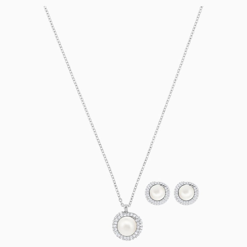 Swarovski Originally Set, White, Rhodium plated
