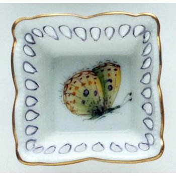 Small Square Dish Butterfly Yellow