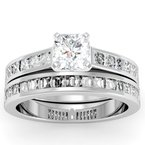 J.F. Kruse Signature Collection Princess Cut Diamond Engagement Ring with Matching Wedding Band