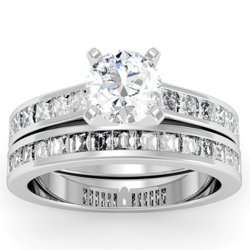 Princess Cut Diamond Engagement Ring with Matching Wedding Band