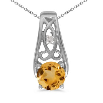 14k White Gold Round Citrine And Diamond Pendant