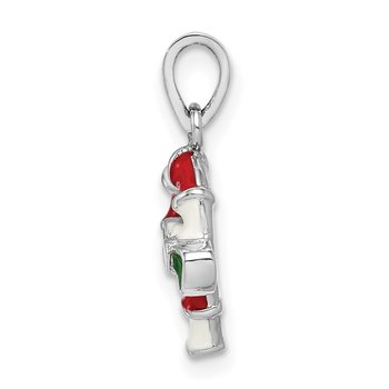 Sterling Silver Rhodium-plated Childs Enameled Candy Cane Pendant