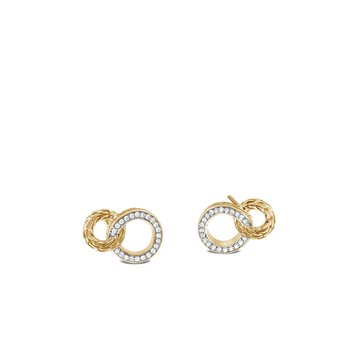 Classic Chain Interlinking Stud Earring, 18K Gold, Diamonds