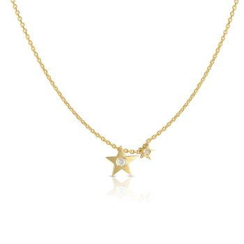 14K Gold .02ct Diamond Stars Necklace