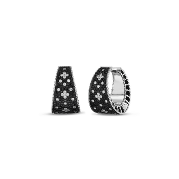 Tapered Hoop Earrings With Black And White Fleur De Lis Diamonds