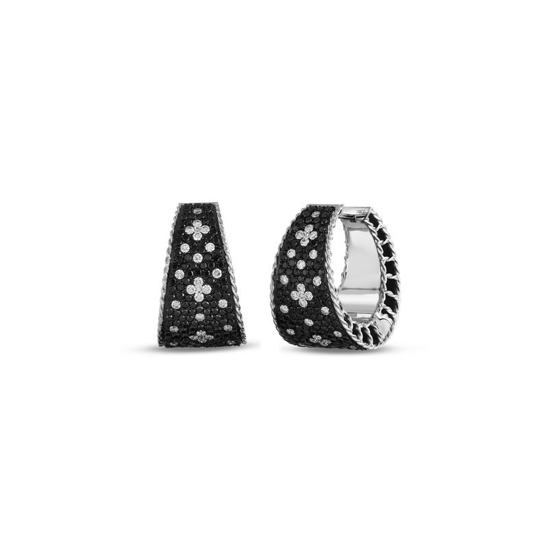 Roberto Coin Tapered Hoop Earrings With Black And White Fleur De Lis Diamonds