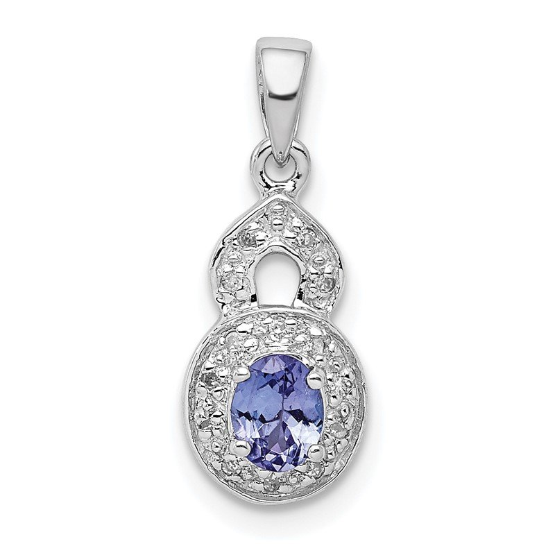 Quality Gold Sterling Silver Rhodium-plated Tanzanite & Diamond Pendant