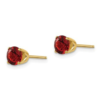 14k 5mm Garnet Earrings - January