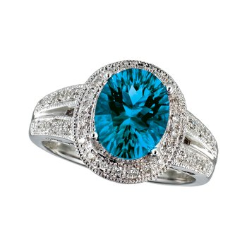 14k White Gold Large Blue Topaz And Diamond Ring