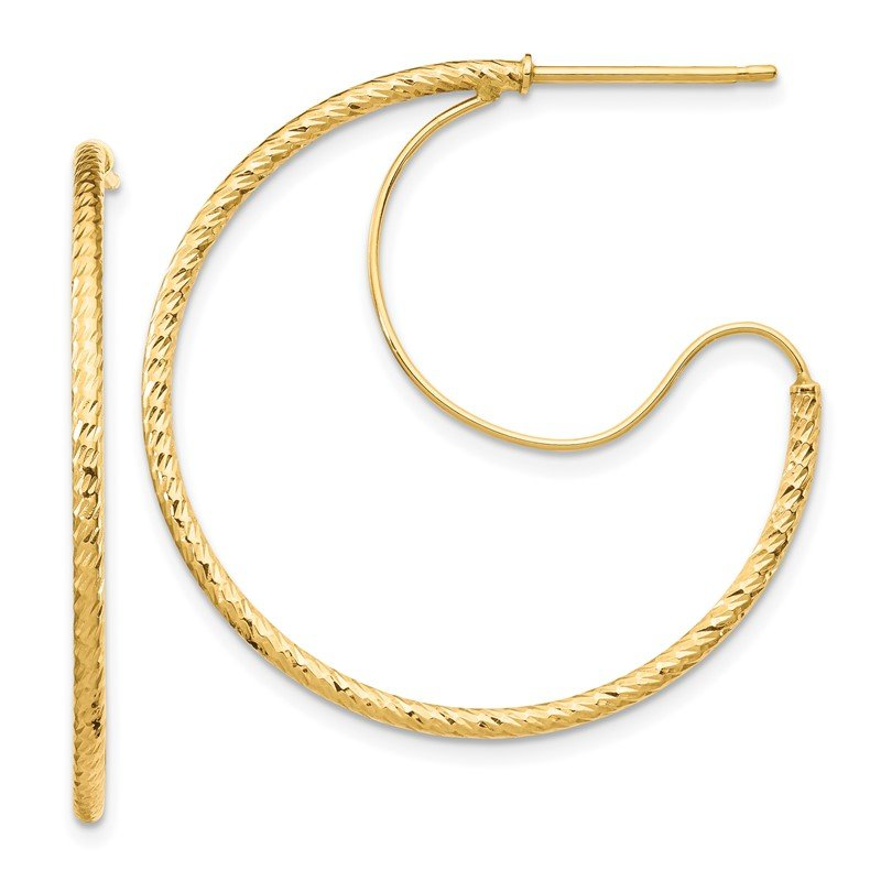 Quality Gold 14K 1.5x30mm D/C with Polished wire Hoop Earrings