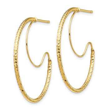 14K 1.5x30mm D/C with Polished wire Hoop Earrings
