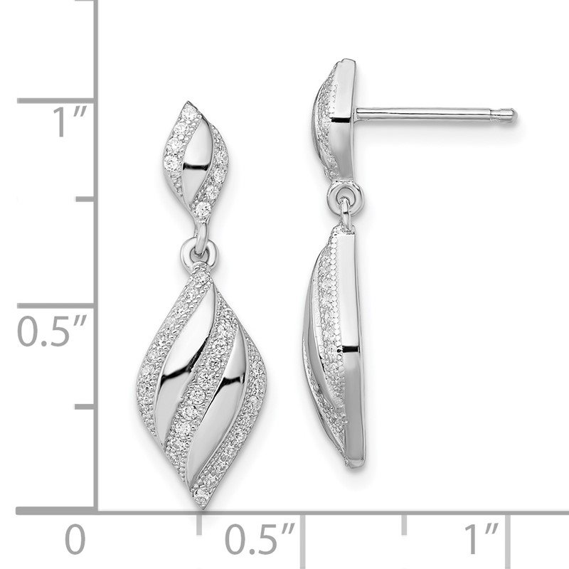 Quality Gold SS Rhodium-Plated CZ Brilliant Embers Dangle Post Earrings