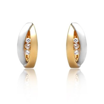 Two Tone Huggie Earrings