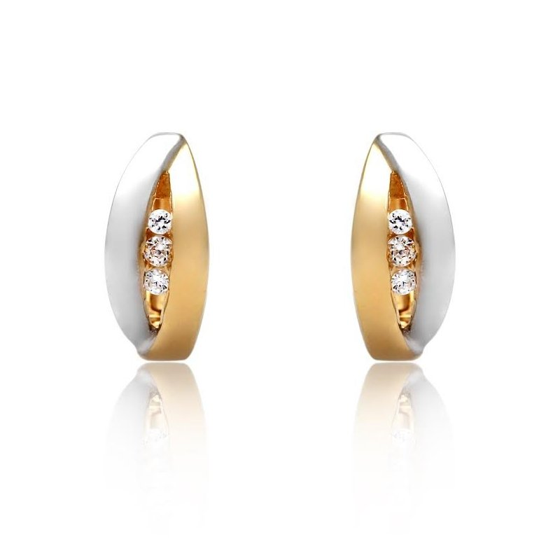 LARUS Jewelry Two Tone Huggie Earrings