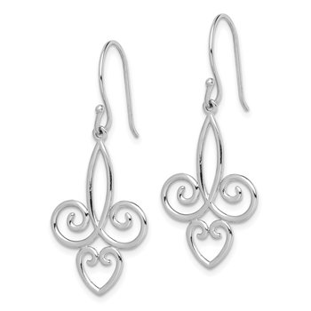 Sterling Silver Rhodium-plated Fleur de Lis Dangle Earrings