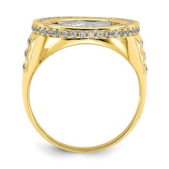 10K Two-Tone CZ Micropave Eagle Mens Ring
