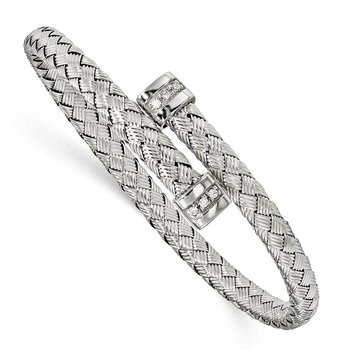 Leslie's Sterling Silver CZ Polished Textured Bangle
