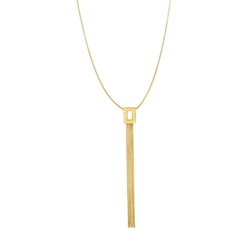 Royal Chain 14K Gold Open Rectangle Fringe Tassel Lariat Necklace