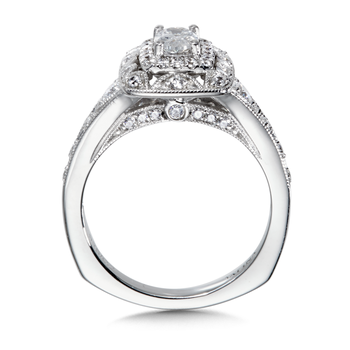 Diamond Halo Engagement Ring Mounting in 14K White Gold (0.5 ct. tw.)