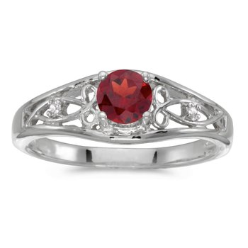 10k White Gold Round Garnet And Diamond Ring