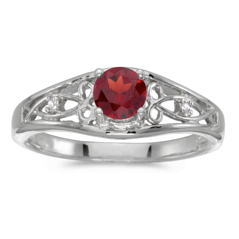 Color Merchants 10k White Gold Round Garnet And Diamond Ring
