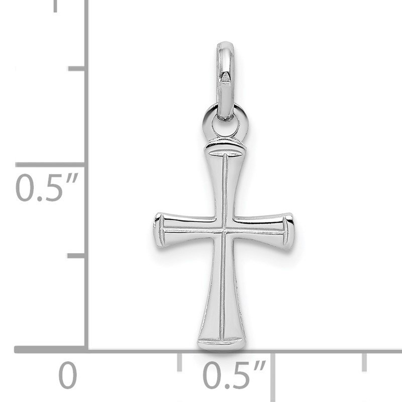Quality Gold Sterling Silver RH Plated Child's Polished Cross Pendant