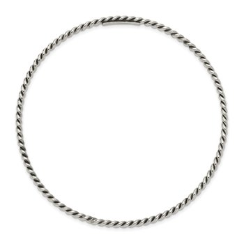 Sterling Silver Antiqued 2mm Twisted Slip-on Bangle