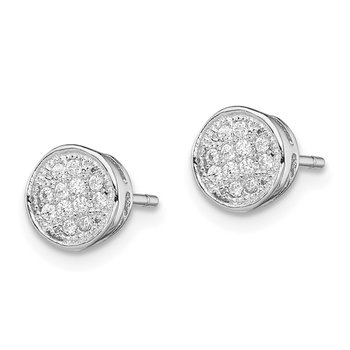 Sterling Silver Rhodium-plated Polished CZ Circle Post Earrings