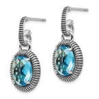 Shey Couture Sterling Silver w/14k Antiqued Blue Topaz Post Dangle Earrings