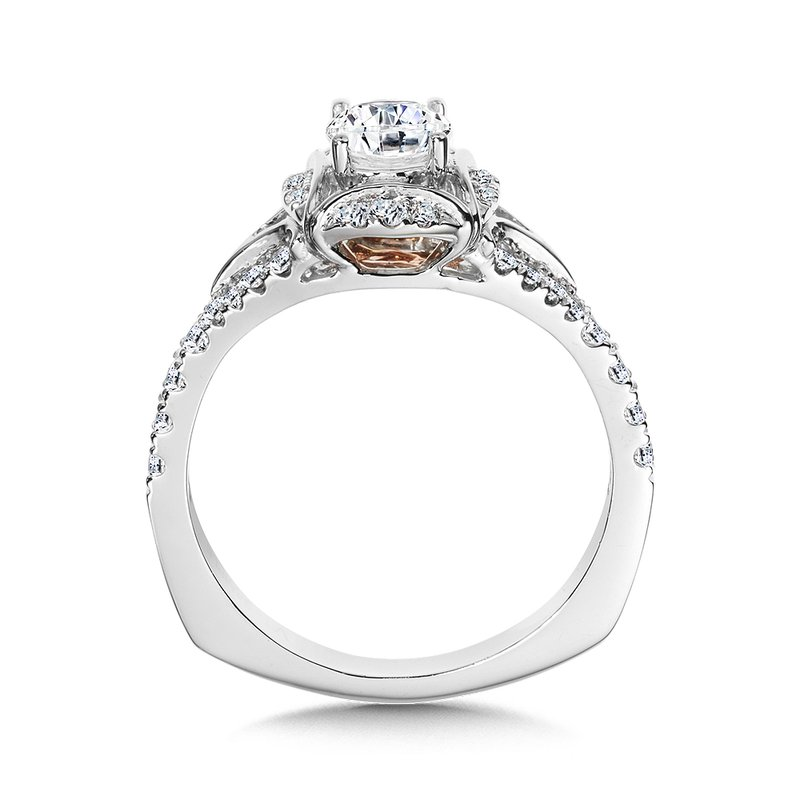 Halo Engagement Ring Mounting in 14K White/Rose Gold (.29 ct. tw.)