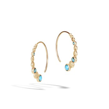 Dot Hoop Earring in Hammered 18K Gold with Gemstone