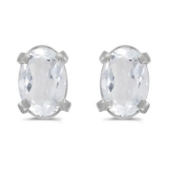 14k White Gold Oval White Topaz Earrings